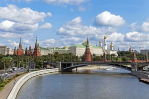 Moscow, Russia . Panorama of embankment and the Kremlin