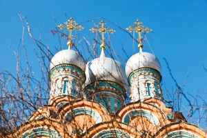 gold crosses on russian church domes