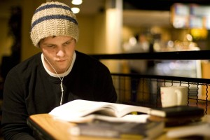 Student studying by Don HamermanFor Rutgers Photo Services
