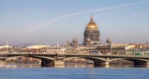 Classical view of Neva river with Isaakievsky Cathedral in Saint-Petersburg, Russia